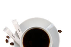 Cup of black coffee close-up Stock Photography