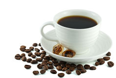 Cup of black coffee close-up Stock Photos