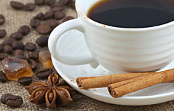 Cup of black coffee close-up Stock Images
