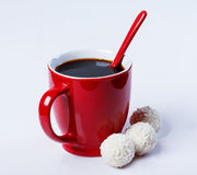 Cup of black coffee, coconut Stock Photography