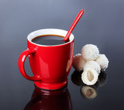 Cup of black coffee, coconut Stock Photo