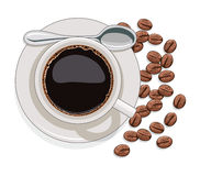 Cup of black coffee and coffee beans, vector  Royalty Free Stock Photography