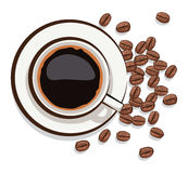 Cup of black coffee and coffee beans, vector  Stock Image