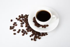 Cup of black coffee with croissants Stock Photo