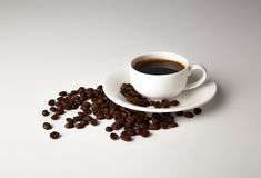 Cup of black coffee with croissants Royalty Free Stock Photo