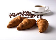 Cup of black coffee with croissants Royalty Free Stock Photography