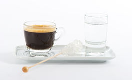 Cup of black coffee. Espresso with water Royalty Free Stock Photos