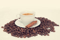 The cup of black coffee with grains Royalty Free Stock Photo