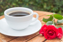 Cup of black coffee in home garden Royalty Free Stock Photography