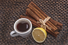 Cup of black coffee and lemon Stock Photography