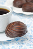 Cup of black coffee and marshmallows in chocolate, closeup Stock Photography