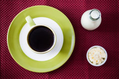Cup of black coffee with milk and cream Stock Photos