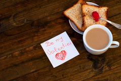 Cup of black coffee with milk, toast and jam Royalty Free Stock Photos