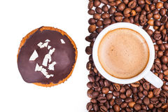 Cup of black coffee and muffin Stock Photo