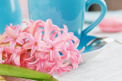Cup of black coffee and pink flower. Cup of black coffee and pink hyacinth flower on white wooden table Royalty Free Stock Photography