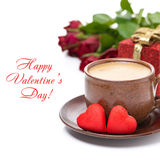Cup of black coffee, red candy, gift, roses for Valentine's Day Stock Photos
