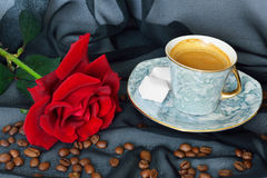 Cup of black coffee and red rose Royalty Free Stock Photography