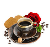 Cup of black coffee and red rose flower and cake on white Royalty Free Stock Images