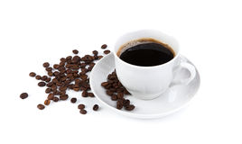 Cup of black coffee with roasted coffe beans 2 Royalty Free Stock Photography