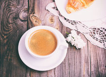 Cup of black coffee and saucer Royalty Free Stock Photography