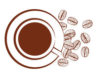 Cup of black coffee, vector  Stock Photography