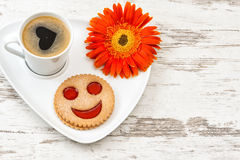 Cup black coffee smiled cookie Heart, love, flower Royalty Free Stock Photos