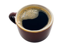 Cup of black coffee with some bubbles Royalty Free Stock Image