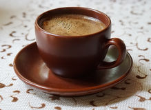 Cup of black coffee. With spices Stock Photo