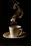 Cup black coffee, steam Stock Photos
