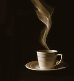 Cup black coffee, steam Stock Images