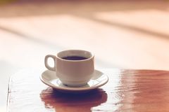 Cup of black coffee. On the table,copy space Royalty Free Stock Photos