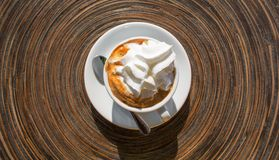 A cup of Black coffee with whipcream top view Royalty Free Stock Photos