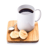 Cup of black coffee on white background Royalty Free Stock Photos