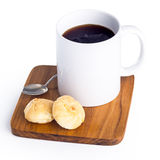 Cup of black coffee on white background Royalty Free Stock Photography
