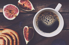 Cup of black coffee on wooden tray Royalty Free Stock Images
