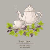 Cup  of black currant tea and teapot Royalty Free Stock Image