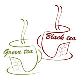 Cup of black and green tea. Illustration Royalty Free Stock Image