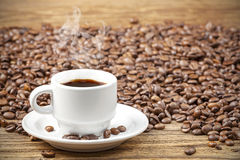 Cup of black hot coffee. Royalty Free Stock Photography