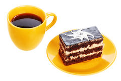 Cup of black tea and chocolate cake Stock Photos