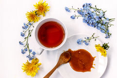 Cup of black tea with honey and flowers forget-me-nots and dandelions on a white background Royalty Free Stock Images
