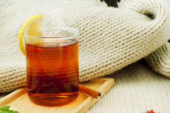 A cup of black tea with lemon Royalty Free Stock Photo