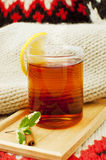 A cup of black tea with lemon Royalty Free Stock Image