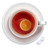 Cup of black tea with lemon and sugar Royalty Free Stock Photos