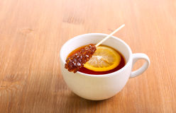 Cup of black tea with lemon Stock Photography