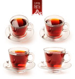 Cup of black tea set with clipping path Stock Image