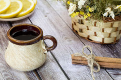 Cup of black tea. Black tea is on the table in the early morning Royalty Free Stock Photography