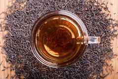 Cup of black tea on the table top view Stock Photography