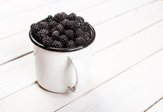 Cup of blackberries Royalty Free Stock Image