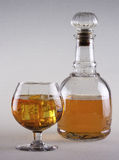 Cup and bottle. Cup of brandy with bottle and ice Royalty Free Stock Photos