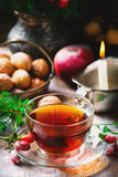 Cup of  briar tea on a Christmas rustic  background. Stock Images